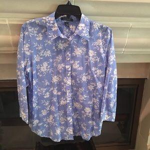 LAUREN Ralph Lauren Sky Blue Floral Print Shirt